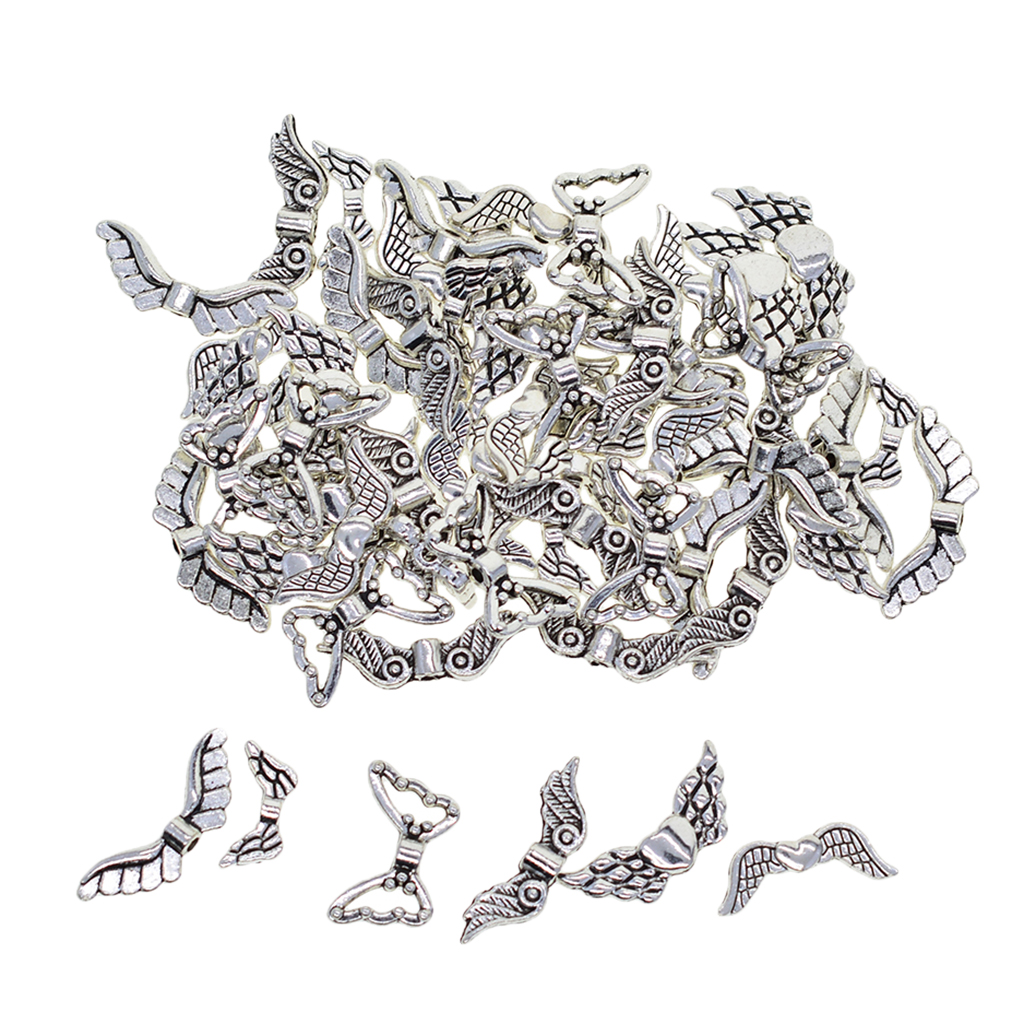60 Pieces Antique Silver Angel Fairy Wings Charm Spacer Beads DIY Bracelet Necklace Gifts