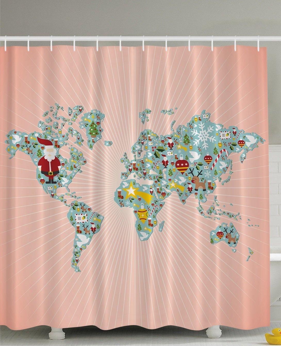 Us 14 17 38 Off Winter World Map Bathroom Funny Education Peach Design Digital Print Polyester Atlas Fabric Fun Shower Curtain In Shower Curtains