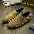 Catwalk nightclub hairstylist shoes male shoe foot lazy shoes red rivet chaos men genuine leather loafers flats shoes