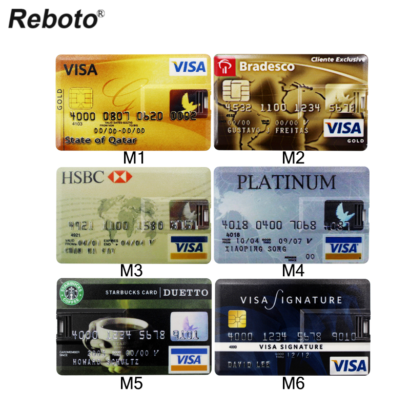 New Credit Card Master Card HSBC American Express USB Flash Drive 64GB Pen Drive 32GB 8GB 16GB 4GB Bank Card Memory Stick Gift