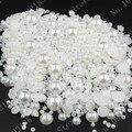 3000 unids/lote tamaño mixto de 2 mm a 10 mm ABS resina blanco Flatback medias alrededor de acrílico de imitación de perlas para decoración de uñas