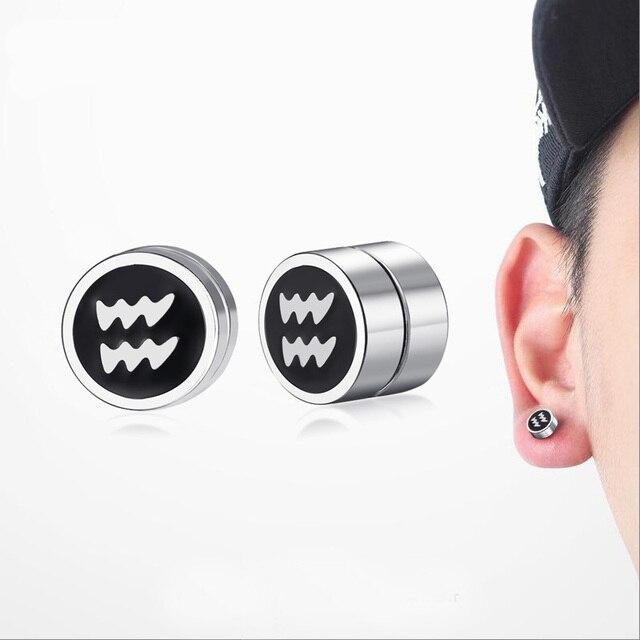 12 constellations aquarius magnetic stud earrings for men women