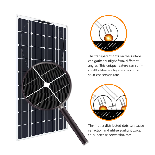 4PCS 6pcs 8pcs 10pcs Flexible solar Panel 100W Monocrystalline Cell 12V 24 Volt