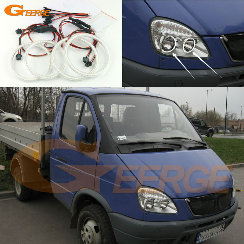 For GAZ GAZelle 3302 2003 2004 2005 2006 2007 2008 2009 Excellent Ultra bright illumination smd led Angel Eyes kit gaz 6000w wbn6000 18c казань