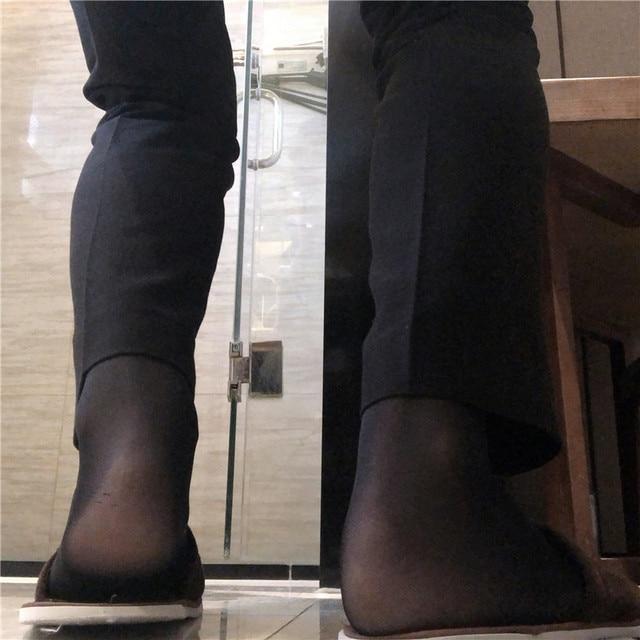 Ultra Thin  Men Formal Dress Suits Hose Stockings Softy Sexy Men Long Socks Knee High Male Silk Stockings 1