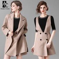 На осень зиму женская верхняя одежда пальто шерстяное пальто комплект с платьем линии Мини шерстяное платье + Свободные длинное пальто мода