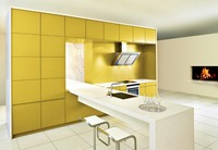 2017 hot sales 2PAC kitchen cabinets yellow colour modern high gloss lacquer kitchen furnitures pantry L1606072