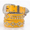 Señoras Famoso Correa Femenina Diseñador de la Marca de Alta Calidad de Las Mujeres Del Diamante Correas de Cintura de Lujo Punky Vaqueros Cinturón Cinto Feminino Amarillo