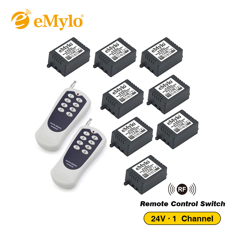 eMylo DC 24V Learning Smart Switch RF Wireless Remote Control Light Switch 2X Black&White Transmitter 8X 1 Channel Relays 433Mhz