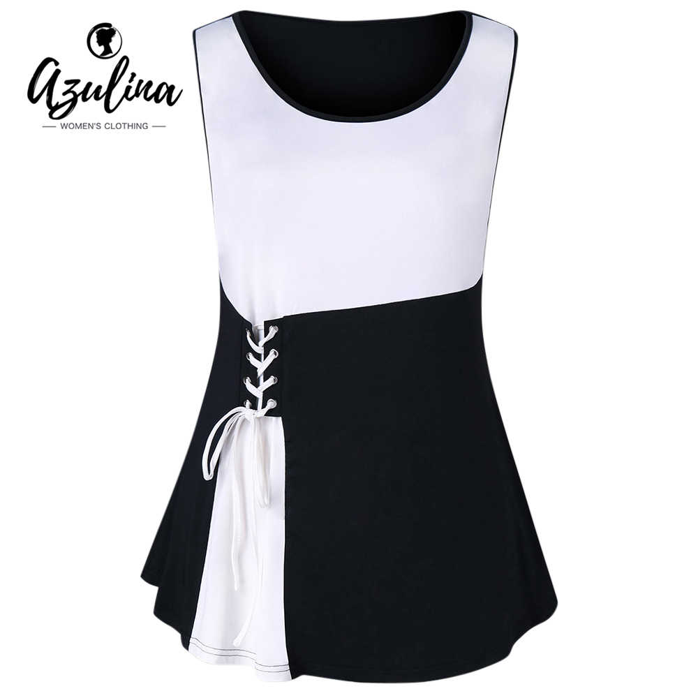44f87f8451a AZULINA Plus Size Lace Up Tank Top 2018 Two Tone Summer Scoop Neck  Sleeveless Women Tops