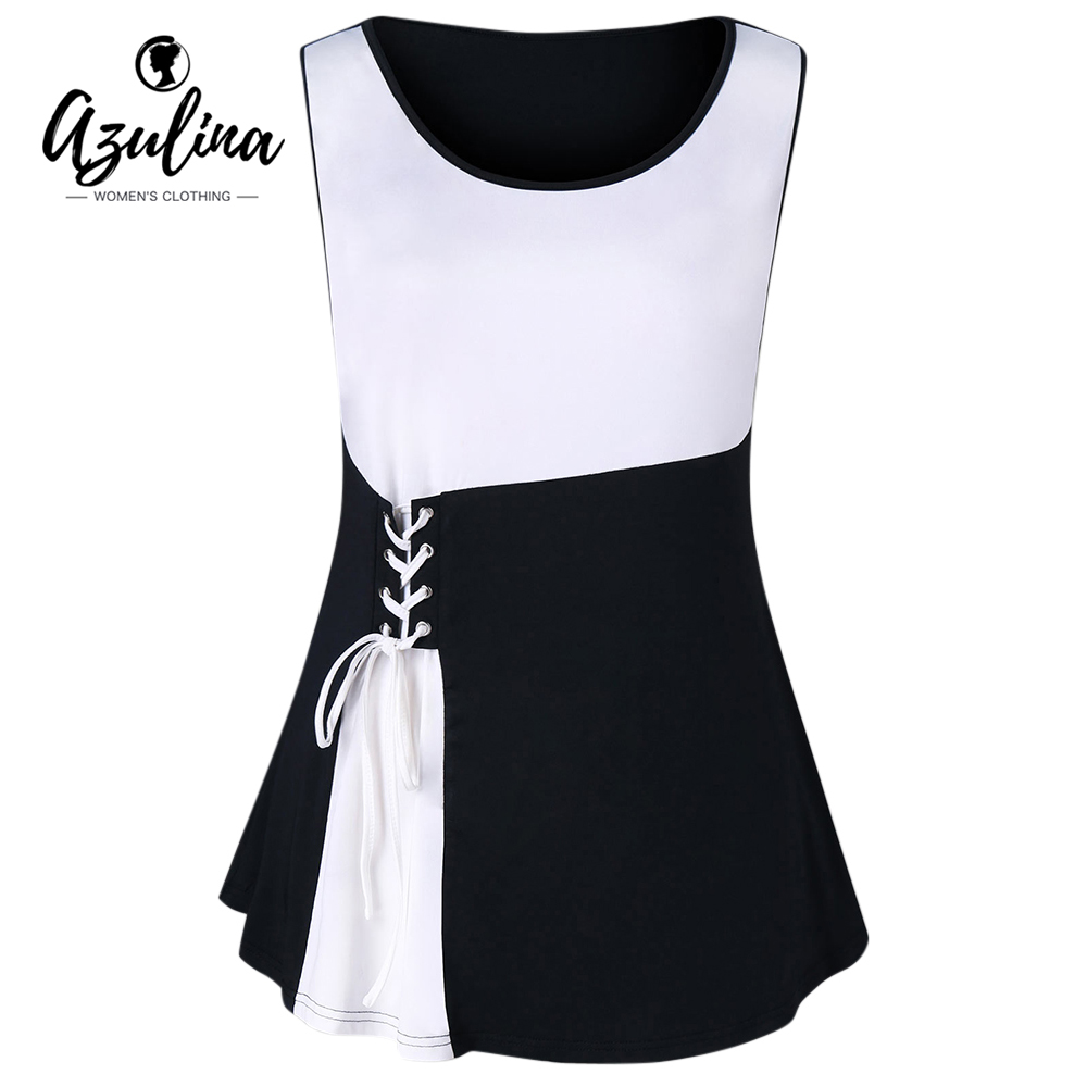 AZULINA Plus Size Lace Up   Tank     Top   2018 Two Tone Summer Scoop Neck Sleeveless Women   Tops   Casual Ladies   Tanks   Big Size Clothing