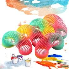 Радужные весенние игрушки для детей, цветные радужные круглые складные пластиковые Пружинные катушки, креативные волшебные развивающие игрушки