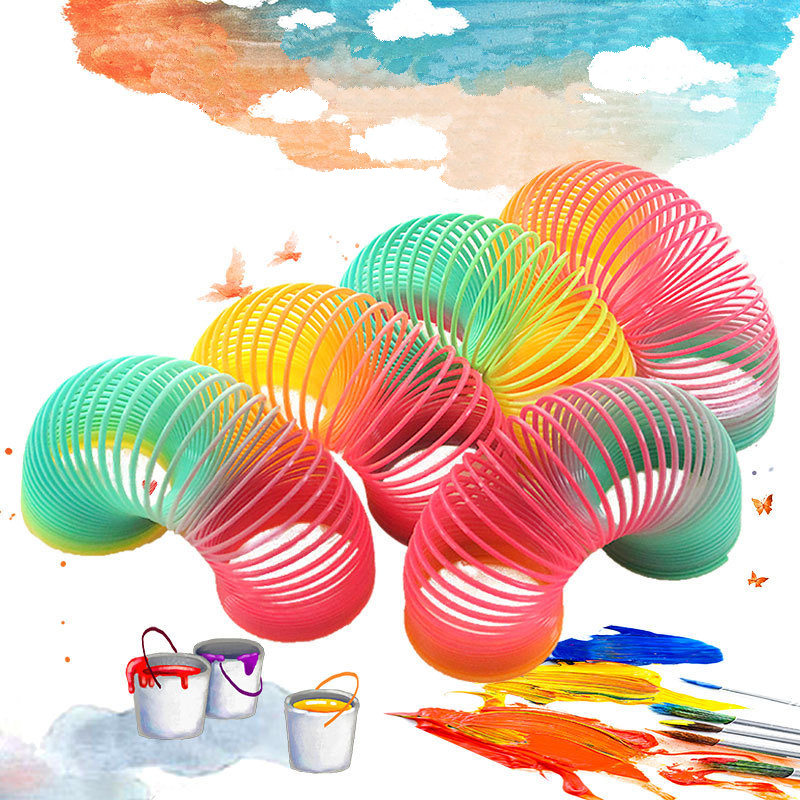 Rainbow Spring Protean Toys For Children Colorful Rainbow Circle Folding Plastic Spring Coil Creative Magical Educational Toys