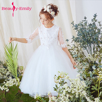 white 2018 Flower Girl Dresses For Weddings ceremony Gown Cap Sleeves Tulle Lace First Communion Dresses For Little Girls