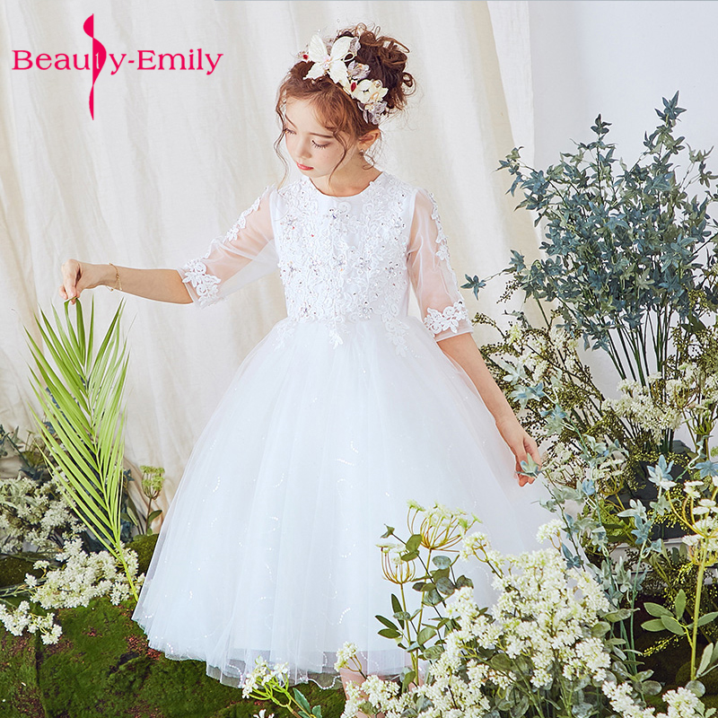 White 2019   Flower     Girl     Dresses   For Weddings party ceremony Gown Cap Sleeves Tulle Lace First Communion   Dresses   For Little   Girls