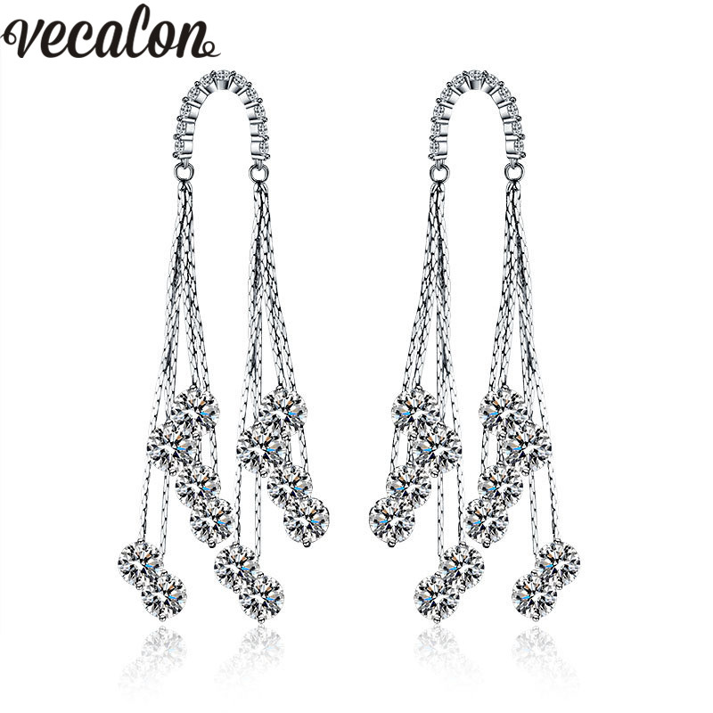 Vecalon Fashion Tassels Line Dangle earring AAAAA Zircon Cz 925 silver Engagement wedding Drop Earring for women Bridal Jewelry