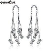 Vecalon Fashion Tassels Line Dangle earring AAAAA Zircon Cz 925 silver Engagement wedding Drop Earring for women Bridal Jewelry