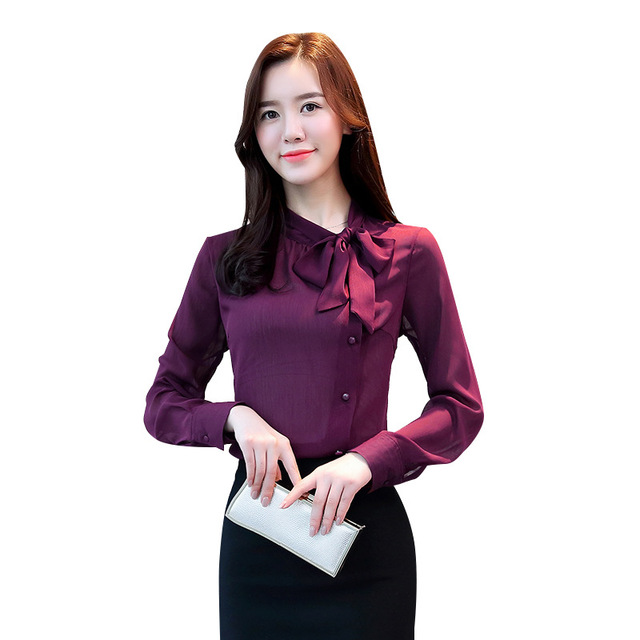 Women Chiffon Long Sleeve Blouses Feminine Bow OL Shirt New Elegant Chiffon Tops 5