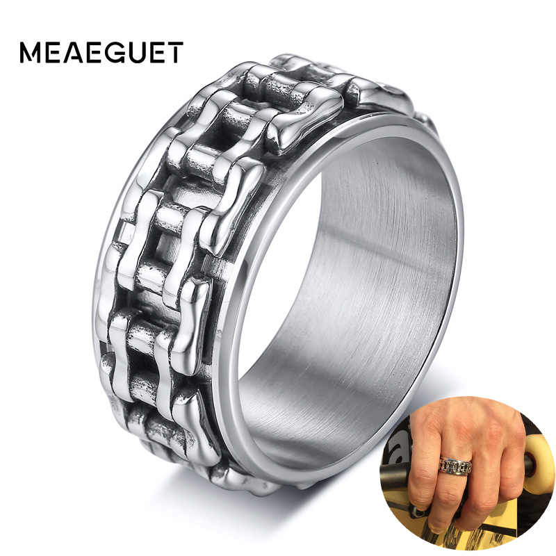 Hop Men Ring Motorcycle Biker Bicycle Chain Stainless Steel Wedding Brands Spinner Rock Male Jewelry