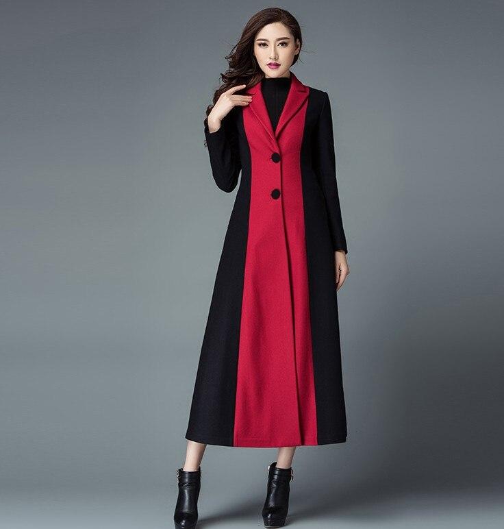 Long Dames Unique Couleur Contraste Femmes rouge Cachemire Nouveau Poitrine Manteau Outwear Laine Noir Élégantes De Tranchée Manteaux D'hiver tYnqUwp