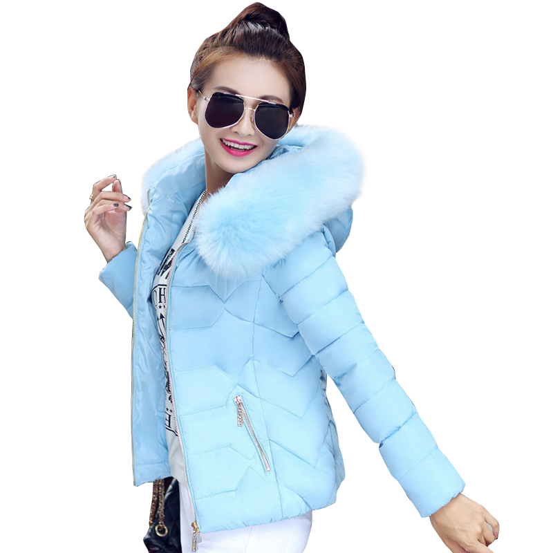 High quality women winter big fur hooded collar coat female outerwear ladies warm short basic jacket slim jaqueta feminina