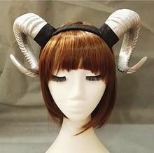 Handmade Sheep horn Headband Hairband Accessory Demon Evil Gothic Lolita Cosplay Halloween Headwear Prop