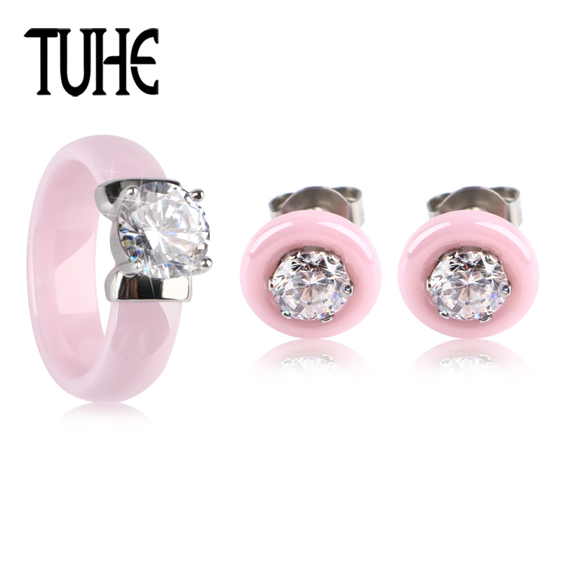TUHE Cute Romantic Pink Jewelry Set Lady Women Girl Ceramic Jewelry Big Crystal Ring With Lovely Rhinestone Stud Earrings Gift