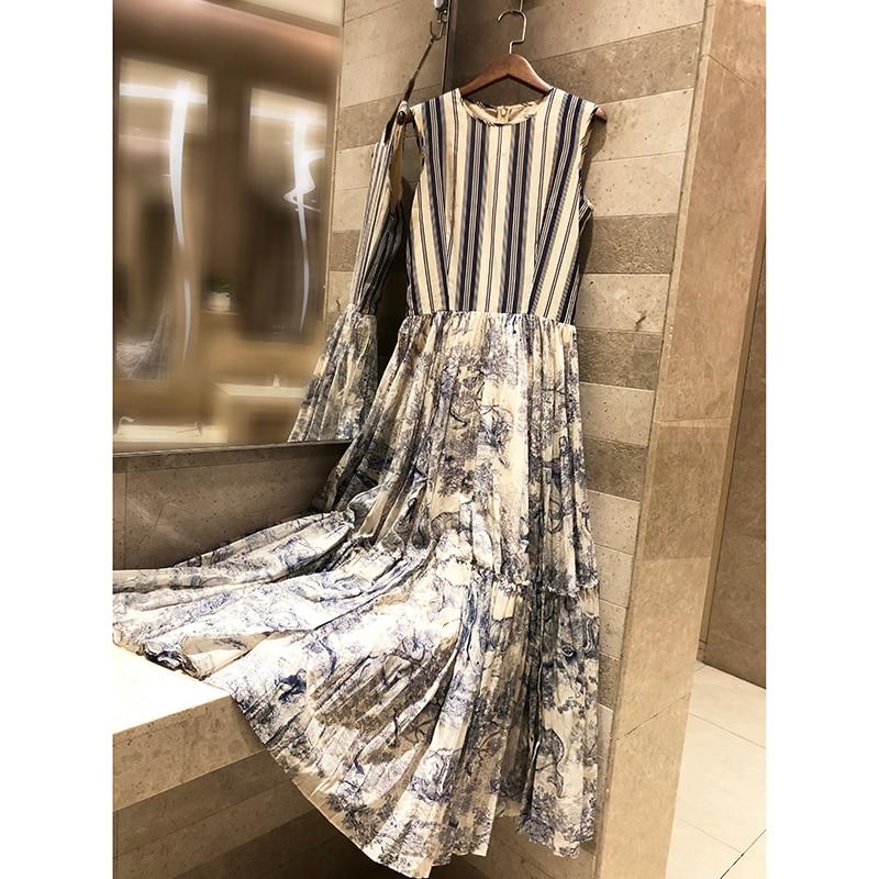 Haut de gamme femmes nouveaux produits 2019 catwalk imprimé animal rayé imprimé coton robe sans manches grand pendule longue robe