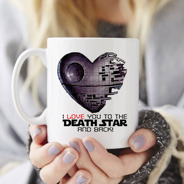 """I love you to the Death Star and back"" Star wars mugs printed"
