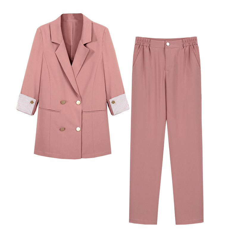 Striped Sleeve Double Breasted Women Pant Suits Notched Blazer High Waist Pant Solid OL Style Female