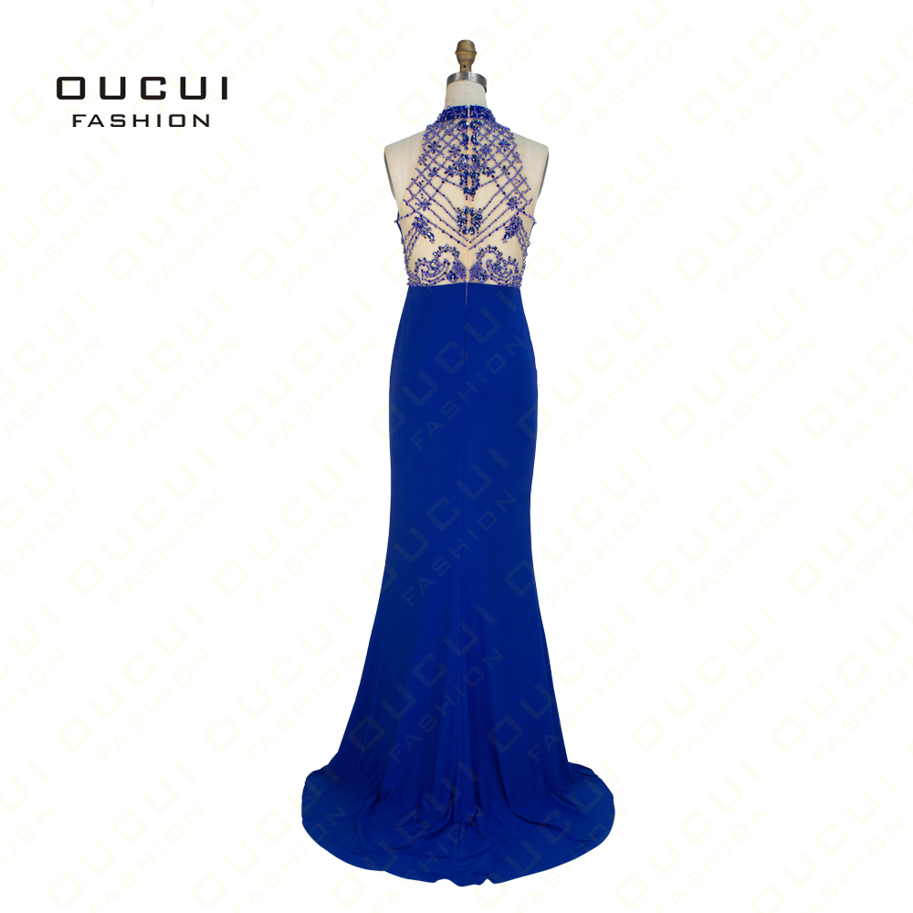 Real Photos Jersey Fabric withe Tulle Beading Hand Make Long Prom   Evening     Dress   Gown OL102669D