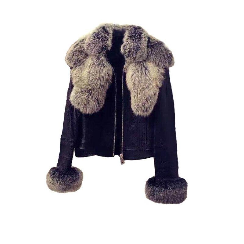 Fashion Faux Fox Fur Collar PU Biker Jacket Slim Autumn Winter Jacket Women   Parkas   Thick Cotton Coat Leather Short Jacket NS761