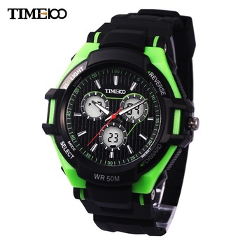 Time100 Men Dual Time Outdoor Sport Watch Three Subdial Black Rubber Strap LED Analog-Digital Electronic Wrist Watch For Men