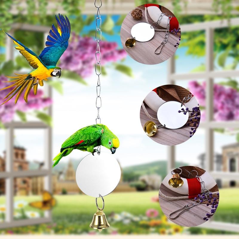 Papegoja dagliga nödvändigheter-Papegoja bell leksak med spegel- - Produkter för djur