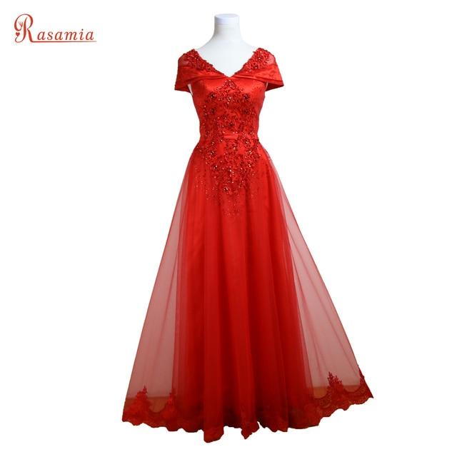 fb5a0301b Rojo V Cuello Vestidos de Noche Largo Rhinestone Moldeado Atractivo de  Baile Vestido de Invitados Vestidos