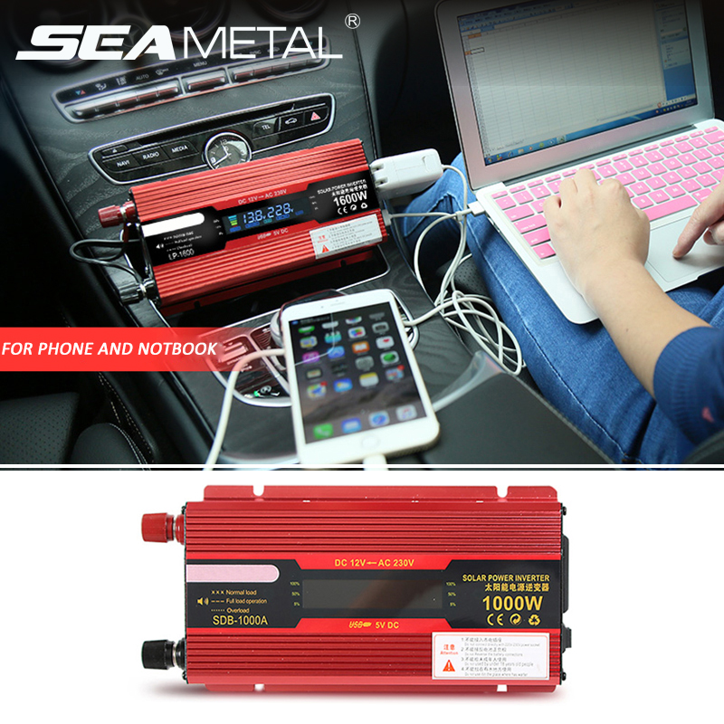 Car Inverter 2000W 1000W 12v 220v Universal Power Inverters DC AC Voltage Converter Auto Adapter LED Display Charger Accessories