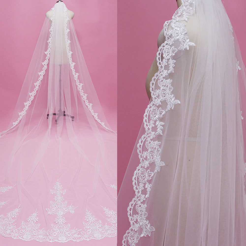 Real Photos 4 Meters Long Lace Edge One Layer Wedding Veil With Comb Luxury 4 M White Ivory Bridal Veil Velo De Novia
