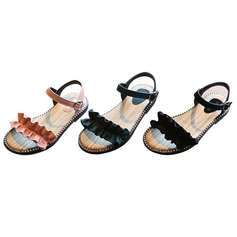 2019 chaussures d'été enfants filles chaussures belle fleur chaussures fille sandales bébé talons plats chaussures pour enfant taille 27-37