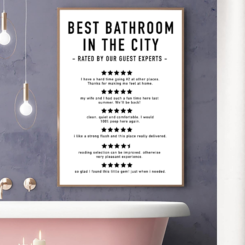 Funny Signs Print Bathroom Decor