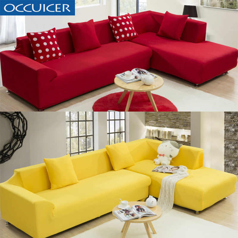 2PC L Shaped Sofa Cover Solid Color Sofa Couch Cover for Living Room Decor  Sofa Cover Slipcovers for 1/2/3/4-Seater Sofa Covers