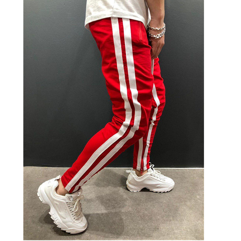 Новинка, европейские и американские мужские спортивные штаны для отдыха, фитнеса, на молнии, для бега, фитнеса, модные штаны - Цвет: white Red