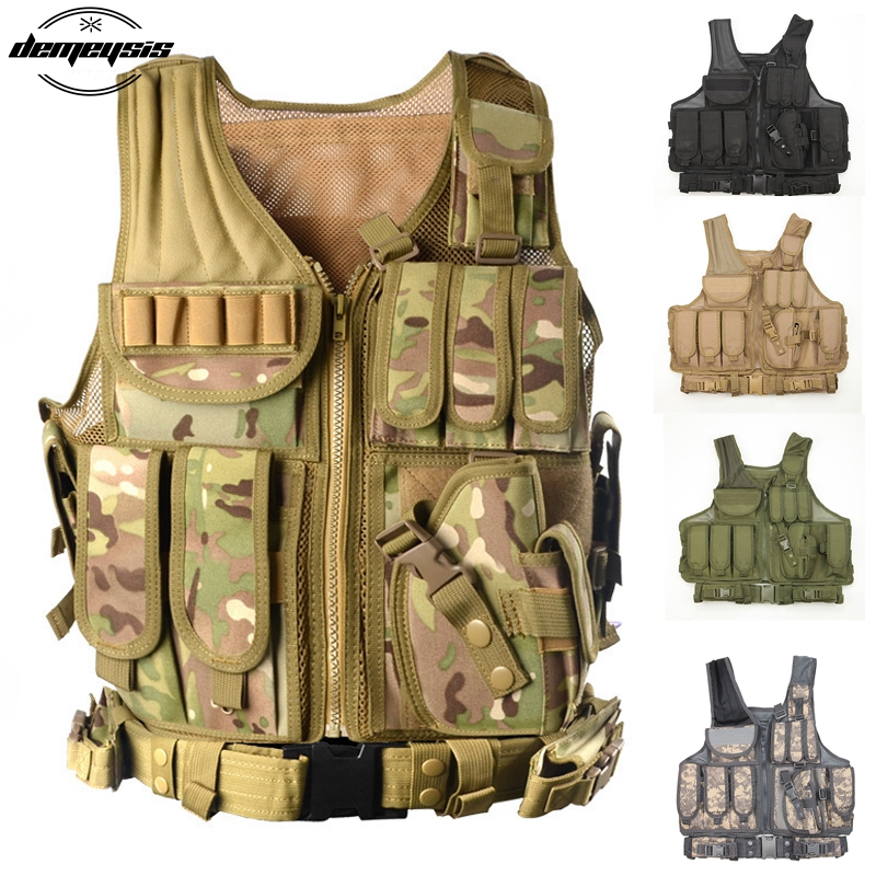 Police Combat Tactical Vest Military Protective Airsoft Camouflage Molle Vest Outdoor Hunting Vest with Gun Holster universal waist belt bag pouch outdoor tactical holster military molle hip purse phone case