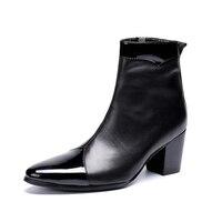 Мужская обувь на высоком каблуке, Botas Militares, мужские Ботильоны из натуральной кожи, ковбойская обувь, черные ботинки в стиле панк с металличе