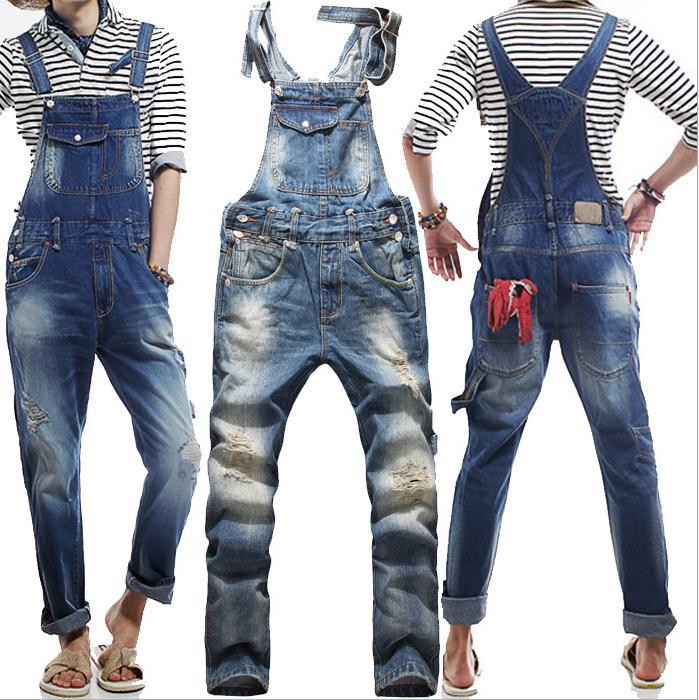 ФОТО 2015 New Jeans Men Original Denim Overalls Fashion Baggy Ripped Jeans For Men Hip Hop Pants Bib Trousers