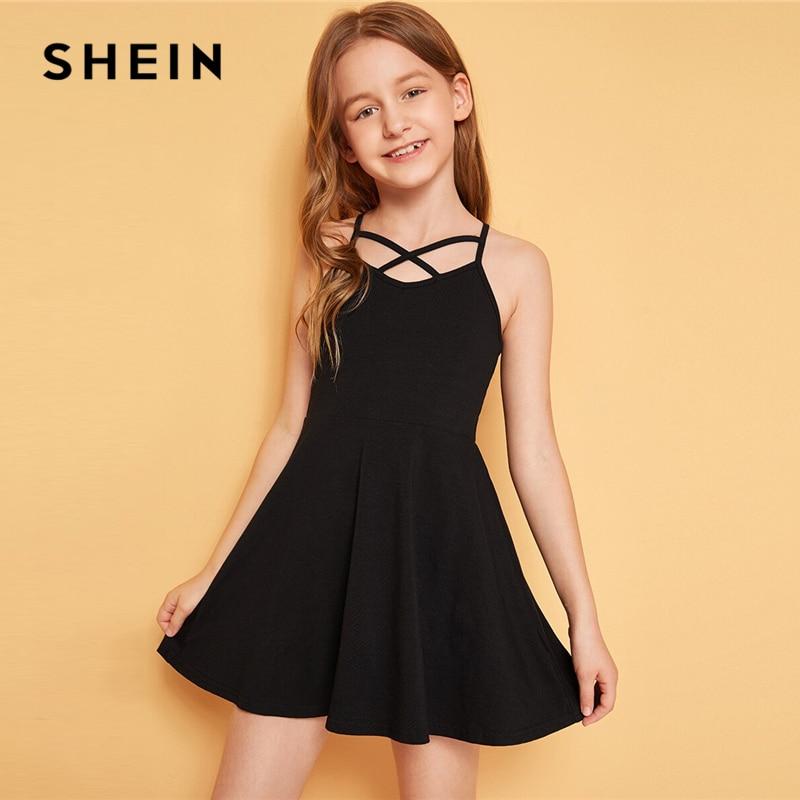 SHEIN Kiddie Black Solid Crisscross Front Girls Flared Dress 2019 Summer Sleeveless High Waist Casual Short Dresses For Kids