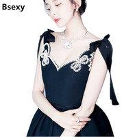Summer Dress 2018 Vintage Women V Neck Backless Floral Beading Bows Ball Gown Midi Dress Black