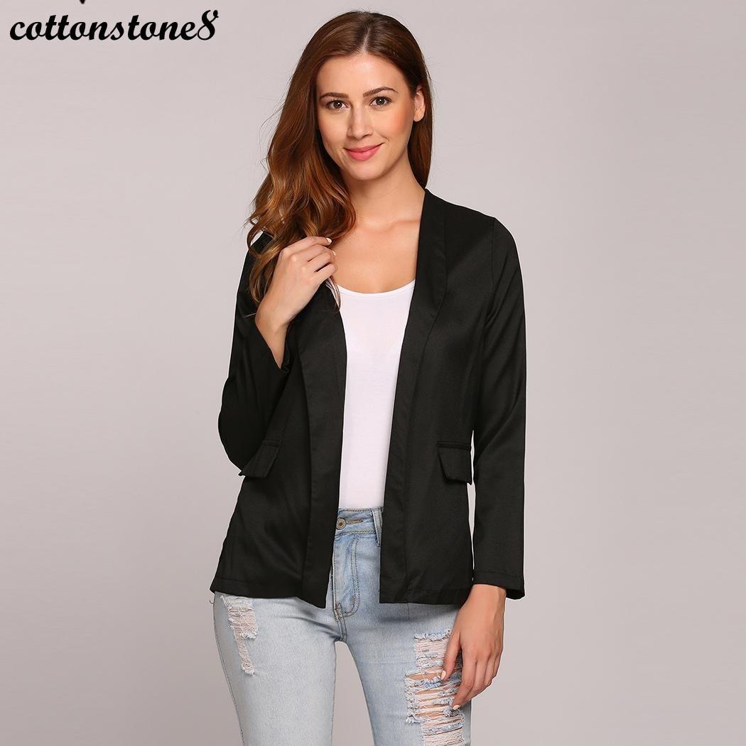 Women Blazer Jacket Blazer Feminino 2017 Autumn Jackets Coats Cardigan Solid V Neck Open Front Full Sleeve Blazers Plus Size