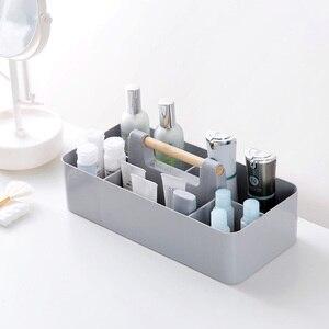 Image 2 - Ahşap saplı saklama kutusu sıralama kozmetik saklama kutusu ofis masası kırtasiye plastik bitirme kutusu kalem tutucu ofis malzemeleri