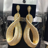 Dazz Luxury Shiny Pendant Geometric Earrings For Women Wedding Party Twisted Jewelry Full Stereo Zircon Nigerian Dangle Earring