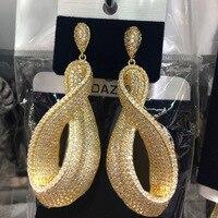 Dazz Luxury Shiny Pendant Geometric Earrings For Women Wedding Party Twisted Jewelry Full Stereo Zircon Nigerian Dangle Earring